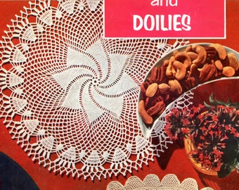 1955 Pinwheel & Flower - Crochet Doily Patterns - Set of 2