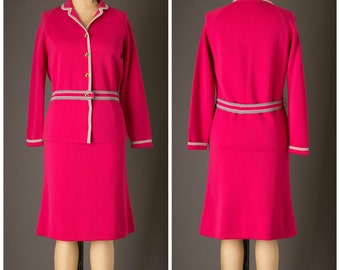 1960s Hot Pink Two Piece Knit Set