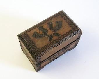 Vintage Carved Wood Box with Lid - Love Birds & Hearts - Polish Folk Art Wood Home Decor - Small Jewelry Box Trinket Box - Wood Anniversary