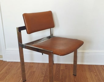 Vintage Leather and Chrome Chair . Hollywood Regency Chair . Art Deco . Mid Century Chair