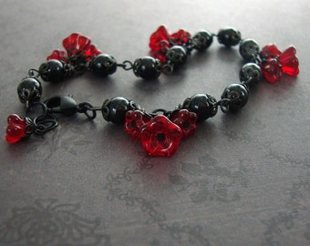 Black and Cherry Red Gothic Lolita Bracelet - Red and Black Metal Jewelry - Victorian Goth Blood Red Flower Bracelet with Swarovski Pearls