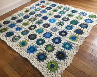 Baby Boy Granny Square Blanket - MADE TO ORDER - Homemade Baby Shower Gift - Ready to Ship Boy Afghan