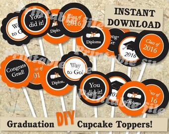 Graduation cupcake topper in orange and black printable template DIY