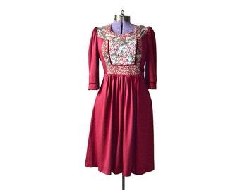 Young Edwardian Dress, Babydoll Dress Red 1960s Dress 60s Dress, Bohemian Dress Boho Dress Hippie Dress Womens Vintage Dress Red Boho Dress
