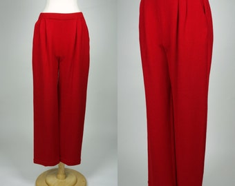 St John red knit pants w pockets wide leg high waist trousers, medium
