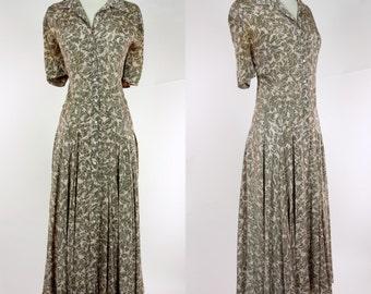 1980s Nicole Miller dress, pink floral print button up casual day dress, short sleeve A line dress, Large, designer