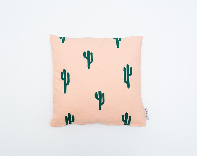 Cactus Print Pillow - Peach & Green - 16x16