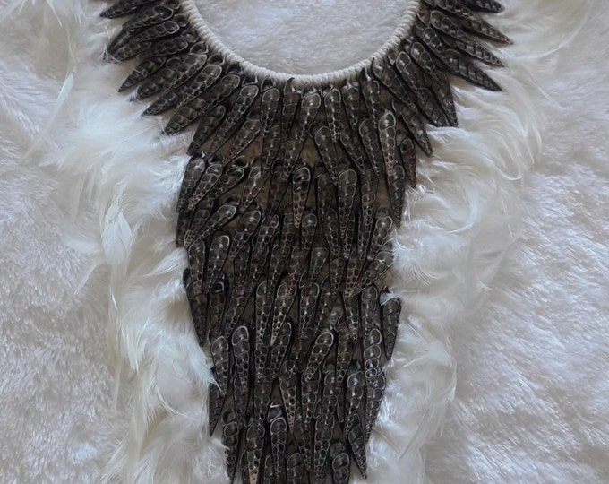 Papua Native Warrior necklace Full of natural brown shells