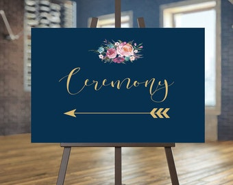 Printable Wedding Ceremony sign, Floral Directional sign, Navy Reception sign, Gold Directional sign Boho wedding Coral sign Arrow sign Anna