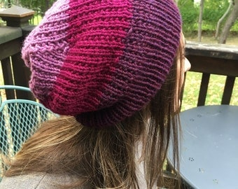Purple and Pink Ombre Reversible Hand-Knit Slouch Hat