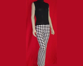 Jumpsuit Black Stretch Spandex Sleeveless Top / Black and White Puffy Knit Legs Stretch Unitard Catsuit Bodysuit  Medium Flared Legs