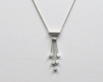 Gitta Circle Necklace - Cascade Necklace, Dangle Necklace, Sterling Silver Geometric Necklace, Modern Necklace, Modern Geometric Jewelry