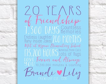 Best Friend Anniversary, Years of Friendship, Friendsversary Special Gift for Friend on Birthday, Long Term Friend, Fun Gifts   WF364