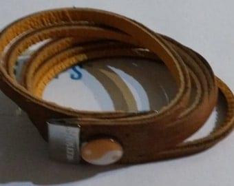 Custom Personalized Two Toned Leather Split Bracelet with Attached Charm