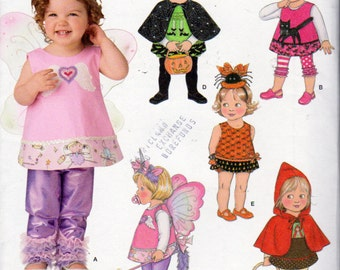 Simplicity 1774, Princess Costume, Red Riding Hood Costume, Fairy Costume, Witch Costume, Angel Costume, Leggings Pattern, 6 Months to 4 Yrs
