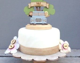 Land Rover wedding topper - shabby chic style personalised cake topper