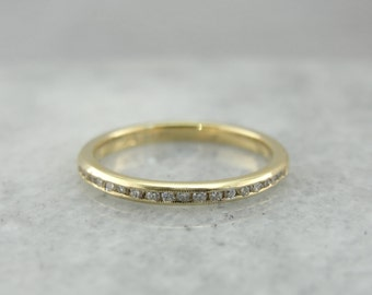 Thin Channel Set Diamond Band for Stacking or Wedding Set in Yellow Gold  11WJT9-R