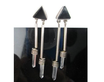 Vintage Quartz Crystal Points Onyx Sterling Silver Earrings