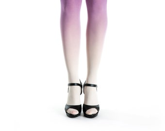 Ombre tights ivory - purple