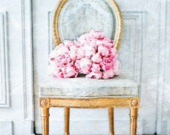 French Provencial Flowers:  A Shabby Chic Vignette Watercolor Fine Art Print, Cottage Chic Home Decor