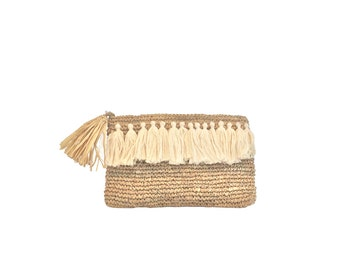 Tassel Clutch, Boho Purse, Straw Beach Clutch with Tassel, Tassel Raffia Clutch