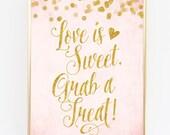 "Blush Pink & Gold Treat Bar Sign - 8"" x 10"" - DIY Printable File - Digital Glitter Confetti"