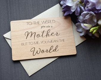 Gift for Mom Wood Card - Mother's Day Card - Mom Card - Mothers Day Card