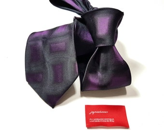 Silk Tie with Plum Purple and Black