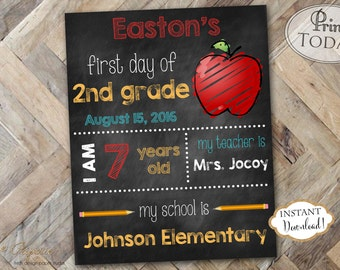 INSTANT DOWNLOAD - First Day of School Chalk Sign - First Day of School Chalkboard - Back to School Photo Prop - First day of Kindergarten