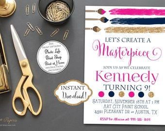 INSTANT DOWNLOAD - Art Party Invitation - Hot Pink Navy Gold Glitter Art Birthday Party - Paint Party - Painting Party - 0145