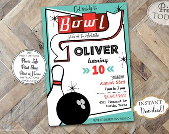 INSTANT DOWNLOAD - Boy Bowling Birthday Invitation - Retro Bowl Invite - Boy Bowling Birthday - Editable Invite - Vintage Bowling - 0205