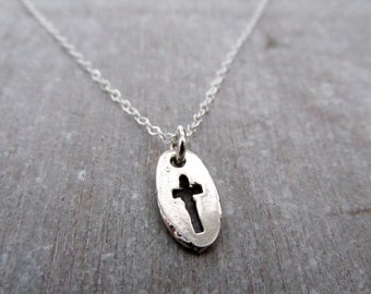 Tiny Sterling Silver Cross Necklace, Tiny Charm Necklace, Layering Necklace, Cross Charm