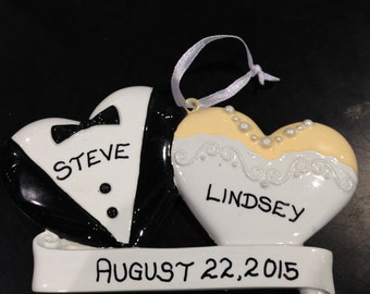 Personalized Wedding Ornament with Hearts