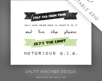 8x10 Word Art - Notorious B.I.G. - Sky's The Limit / Lime - Printable PDF