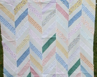 Unfinished Quilt Top Ready to Quilt Lap Throw Shabby Chic Modified Chevron Mid Century Modern Reproduction Fabrics