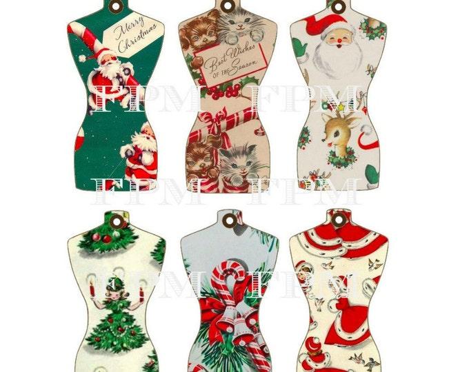 Retro Digital Christmas Gift Wrap Tags, Dress-form Christmas Tags, Printable Tags, Instant Download