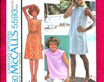 1977 McCall's 5593 Yoke Front SunDress or Top with Tiny Wing Sleeves Size 10 UNCUT