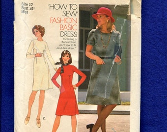 "Vintage 1975  Simplicity 7079 Basic Jewel Neck ""A"" Line Dress & How to Sew Pattern Size 10"