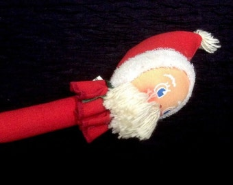 Vintage Santa Clause Baby Rattle By Bubby Chubs Inc  Red Christmas Themed