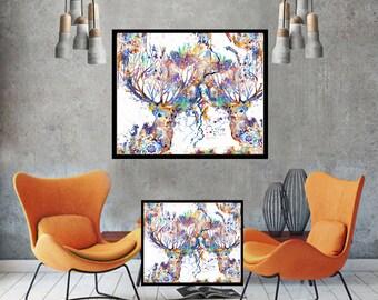 Deer art deer print deer wall art stag large wall art print deer poster decor deer painting abstract art print original painting canvas art
