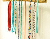 Portable Wooden Necklace Stand Copper- Rustic Jewelry Holder