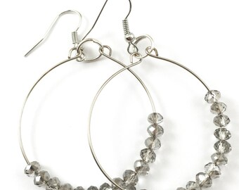 Gray Hoop Earrings, Grey Hoop Earrings, Gray Beaded Hoops, Small Gray Earrings, Gray Crystal Earrings, Small Hoops, Gray Hoops, Grey Hoops