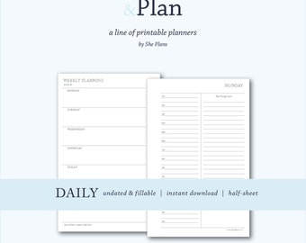 Weekly vertical print plan planner undated and fillable for Half size set of plans