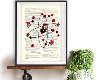 Atom art print,cimestry, laboratory, vintage science, flower print, wall art, vintage print on recycled paper, retro art