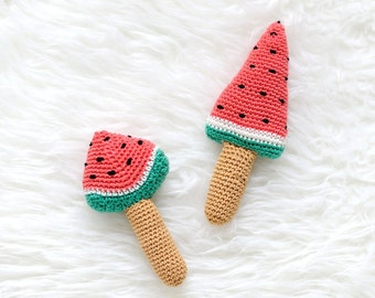 Handmade 'Crochet Watermelon Rattle Toy', Watermelon, Summer toy, Baby Shower Gift, Rattle Toy - READY TO SHIP