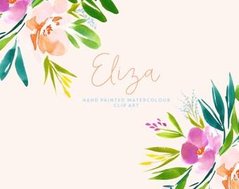 Watercolour Flower Bouquet Clipart - Eliza
