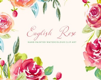 Watercolour Flower Hand Painted Clip Art - English Rose