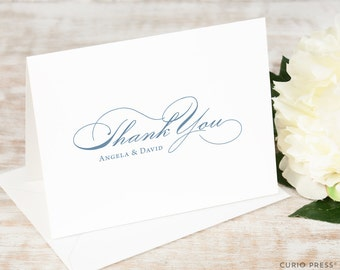 Personalized Notecard Set / Engagement Thank You Cards / Folded Personalised Stationary Cards / Formal Wedding // CLASSIC SCRIPT Thank You