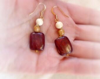 Handmade red wood earrings for her , Retro wooden jewelry , Geometric eco earrings gift , 5th wood Anniversary ; Dangle wood earrings ;