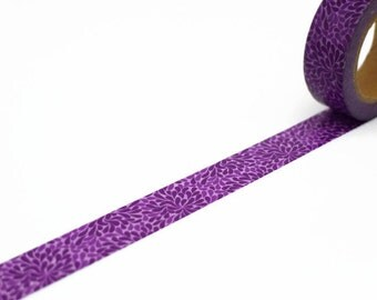 Purple Washi Tape with Petal Pattern - Dark Purple Droplet Masking Tape
